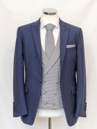 Grey Dog Tooth Check Waistcoat with blue jacket