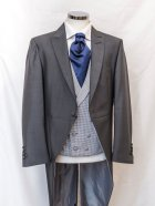 Grey Dog Tooth Check Waistcoat with charcoal tail coat