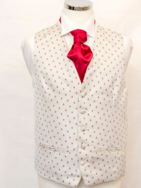 Waistcoat Fleur de Lis Cream and Red
