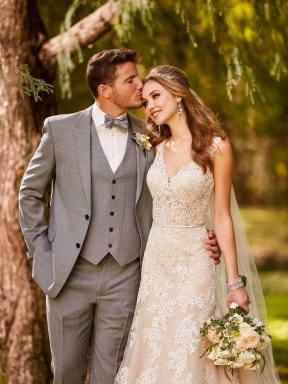 Stella York 6552 wedding dress and groom