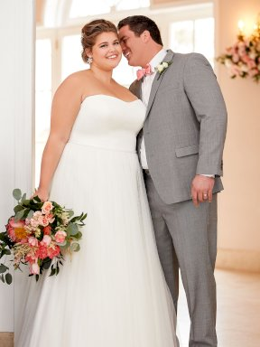 Stella York 6594 plus size wedding dress couple